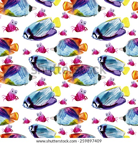Exotic fish (tropical fish)and crab.Underwater life seamless pattern on  white background d7239e9f3d51