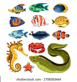 Exotic fishes characters in cartoon style set vector illustration. Various sea inhabitants cartoon design. Nemo, sea horse, starfish and crab. Underwater life concept. Isolated on white background