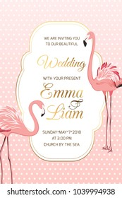 Exotic flamingo wading birds couple on pink white polka dot background. Wedding marriage event invitation card template. Luxury shining golden gradient vintage border frame and text placeholder.