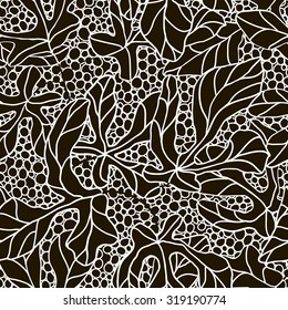 Exotic floral pattern of tropical leaves and water bubbles. Abstract background seamless pattern. Black and white.