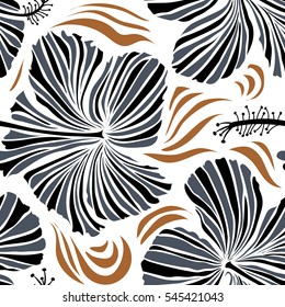 Exotic flowers in allover composition. Pattern for summer fashion, interior, wallpaper. Seamless vector tropical design with hibiscus on a white background in black and blue colors.