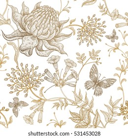 Exotic flowers and butterflies. Seamless vector floral pattern style vintage luxury fabrics. Unusual art illustration for textiles, paper, curtains, clothing, case phone cover. White and gold foil.