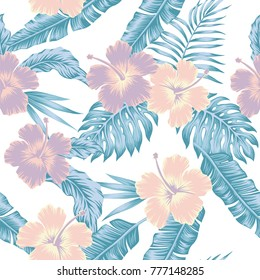 Exotic flowers hibiscus abstract cold color tropical vector leaves seamless white pattern background