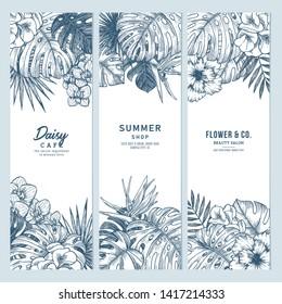 Exotic flowers and leaves banner collection. Botanical vintage illustration. Vector illustration