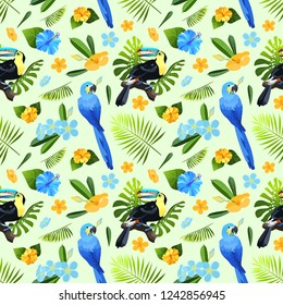 Exotic flowers, leaves and birds seamless pattern. Colorful toucan and parrot ara in tropical foliage tiled background. Vector illustration.