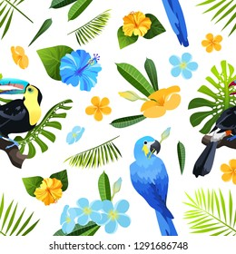 Exotic flowers, leaves and birds seamless pattern isolated on white background. Colorful toucan and parrot ara in tropical foliage vector illustration.