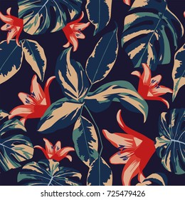 Exotic flowers and leaves seamless tropical design floral vector dark blue background