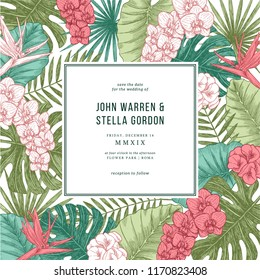Exotic flowers and leaves. Tropical style. Elegant wedding invitation template. Vector illustration