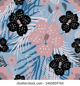 Exotic flowers pink, black on palm tree leaves, on skyblue background. Vector seamless pattern.