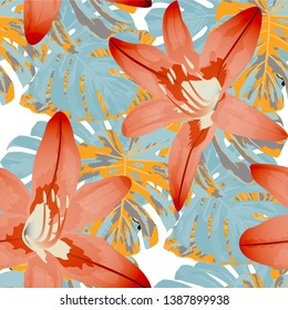 Exotic Flowers. Seamless Pattern with Hawaiian Rainforest. Vintage Texture with Exotic Leaves and Flowers for, Wallpaper, Paper, Dress. Vector Seamless Pattern with Exotic Flowers