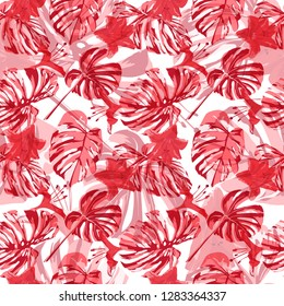 Exotic Flowers. Summer Design for Swimwear. Exotic Palm Greenery Backdrop. Seamless Illustration. Exotic Flowers and Leaves Print.