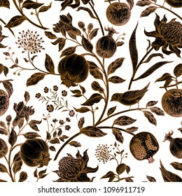 Exotic flowers waratah, fruits garnet, apples, birds. Seamless vector floral pattern. Vintage style. Illustration for luxury textile, paper, case phone, cover. Copper, black and white background.