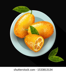 Exotic fruit kumquat with green leaves on the plate. Fresh fruit cartoon style. Watercolor realistic handdrawn vector illustration isolated on black background. Whole and cut orange juice kumquat.