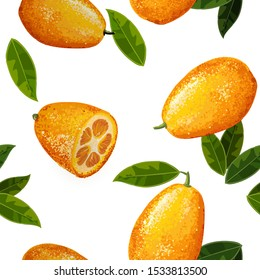 Exotic fruit kumquat with green leaves. Seamless pattern.Fresh fruit cartoon style. Watercolor realistic handdrawn vector illustration. Whole and cut orange juice kumquat.