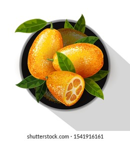 Exotic fruit kumquat with green leaves on the plate. Fresh fruit cartoon style. Watercolor realistic handdrawn vector illustration isolated on white background. Whole and cut orange juice kumquat.
