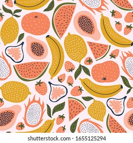 Exotic fruit seamless pattern in hand-drawn style. Vector repeat background for colorful summer fabric.