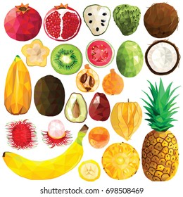 Exotic fruit set colorful low poly designs isolated on white background. Vector edible food illustration. Collection of full and cut in half tropical plants in modern style. Organic raw wild fruits.