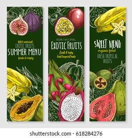 Exotic fruits banners of orange grapefruit, guava and carambola star fruit, tropical papaya and passionfruit maracuya, mango or avocado, figs and rambutan for organic fruit shop menu or farmer market