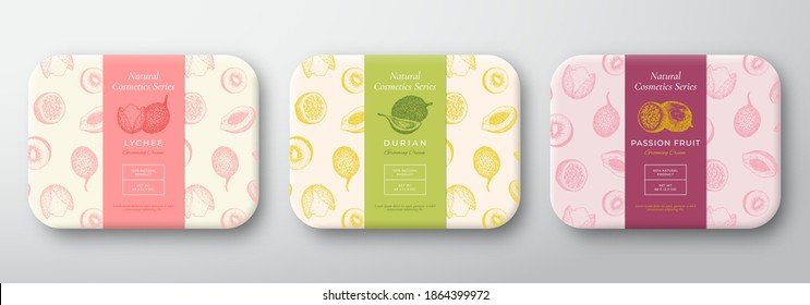 Exotic Fruits Bath Cosmetics Package Set. Abstract Vector Wrapped Container Labels. Packaging Design Collection. Hand Drawn Lychee, Durian and Passion Fruit Background Pattern Layout. Isolated.