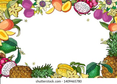 Exotic fruits frame.Avocado,carambola,mango,pitahaya,pineapple,passion fruit.Bright summer vector illustration.Hand drawing.