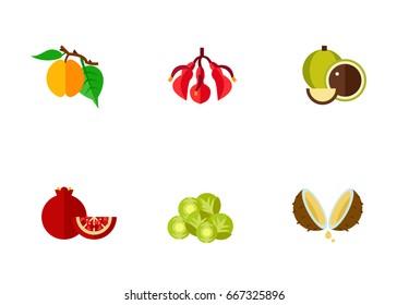 Exotic fruits icon set