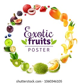 Exotic fruits including durian, lychee, fig, mango, pineapple, round rainbow frame on white background vector illustration