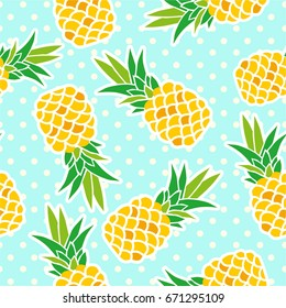Exotic fruits on a blue background. Seamless background with pineapples on a blue background with polka dots. Yellow pineapples on a blue background.