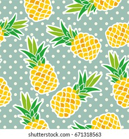 Exotic fruits on a blue background. Seamless background with pineapples on a background with polka dots. Yellow pineapples vector illustration.