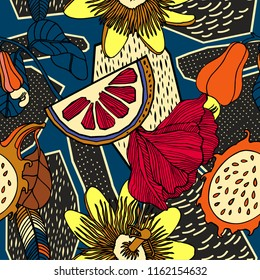 Exotic fruits and plants in bright colours. Seamless pattern.