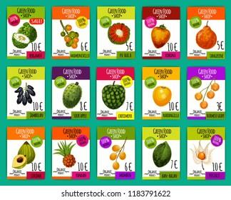 Exotic fruits price cards, farm market. Vector bergamot, mamonchillo and pu hala, kokona fruit, narangilla and cherimoya, sour apple and jambolan, lukuma, pandan and mombine, phyzalis and ban balan