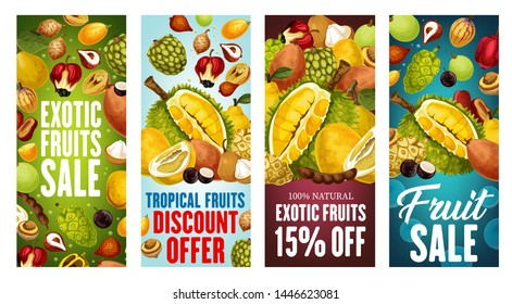 Exotic fruits sale vector banners with discount price offers of Asian tropical berries. Thai durian, pomelo and kumquat, quince, tamarind and salak, morinda, sweetsop and santol, ackee and jabuticaba