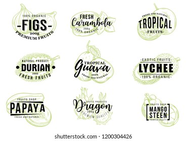 Exotic fruits sketch lettering, farm market and organic healthy food. Vector calligraphy with fig, carambola starfruit, durian and guava, lychee, papaya and dragon fruit pitaya, durian and mangosteen