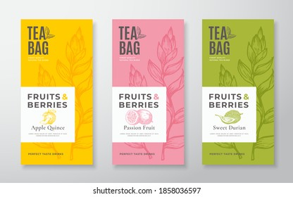 Exotic Fruits Tea Labels Set. Vector Packaging Design Layouts Bundle. Modern Typography, Hand Drawn Tea Leaves, Quince, Passion Fruit and Durian Silhouettes Background. Beverage Banners. Isolated.