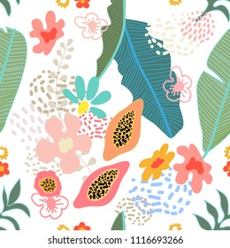 Exotic garden blossom. Seamless botanical pattern with tropical leaves, flowers and fruits inspired by 1950s-1960s design. Retro textile collection. On white background.