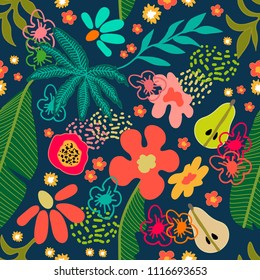 Exotic garden blossom. Seamless botanical pattern with tropical flowers and fruits inspired by 1950s-1960s design. Retro textile collection. On dark background.