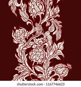 Exotic Garden. Seamless vector background with oriental pattern. Paisley flowers, hand drawn detailed illustration