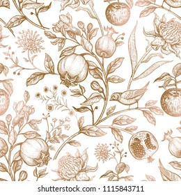 Exotic gold flowers, birds and fruits. Seamless vector floral pattern in style vintage luxury fabrics. Art vector illustration. Unusual template for design of textiles, paper, case phone cover.
