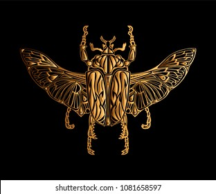 Exotic golden beetle isolated on black background. Vector illustration