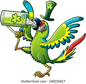 Exotic Green Macaw raising his leg, holding a glass, opening his wings, drinking Irish beer and celebrating St Patrick's Day