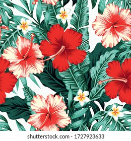 Exotic green tropical palm, fern leaves, vivid hibiscus, plumeria flowers seamless pattern on the white background. Jungle vector floral wallpaper.