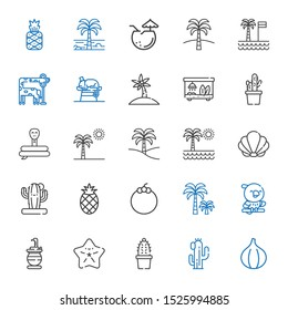 exotic icons set. Collection of exotic with fig, cactus, starfish, snake, parrot, palm tree, mangosteen, pineapple, seashell, terrarium, chameleon. Editable and scalable exotic icons.