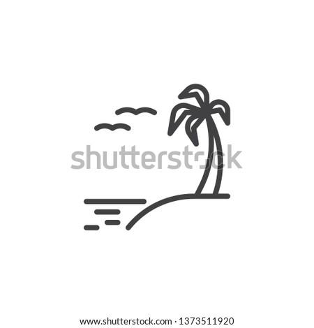 Exotic Island Beach Line Icon Linear Stock Vector Royalty