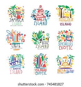 Exotic islands summer vacation colorful logo set