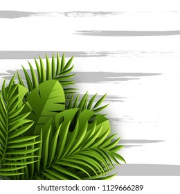 Exotic jungle tropical palm leaves. Summer floral background with grunge texture. Vector illustration.