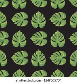 Exotic leaf seamless with watercolor style. Trendy Flat color style vector illustration.