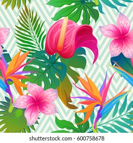 Exotic leaves and flowers on geometrical ornament. Seamless tropical pattern. Vector background with paradise bird flower and rhombus