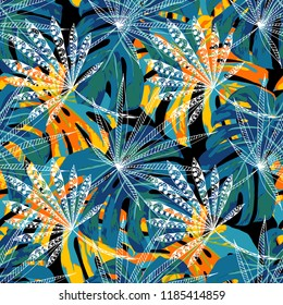 Exotic Leaves. Seamless Pattern with Indonesian Jungle. Trendy Colorful Texture for Dress, Curtain, Cloth. Vector Tropical Pattern.