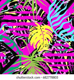 Exotic leaves summer funky seamless pattern.80s 90s pop art memphis style.Hand drawn ink artistic trendy sport fashion background. Expressive ornament for textile,wrapping, decoration