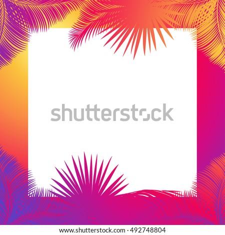 Exotic Leaves Tropical Frame Text Space Vector de stock (libre de ...