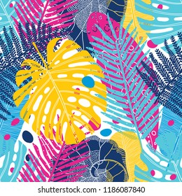 Exotic leaves. Vector seamless pattern.